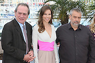 "CANNES, FRANCE - MAY 18: Tommy Lee Jones, Hilary Swank and Luc Besson attend ""The Homesman"" photocall at the 67th Annual Cannes Film Festival on May 18, 2014 in Cannes, France.  (Photo by Tony Barson/FilmMagic)"