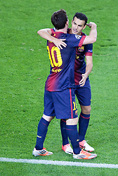 Lionel Messi celebrates after scoring the winning goal with Pedro during the Group G UEFA Champions League match between FC Barcelona and Spartak Moscow at the Nou Camp, Barcelona, Spain 19th September 2012. Credit - Eoin Mundow/Cleva Media