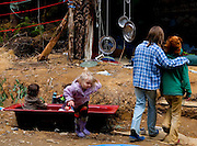 Kids playing at the Upper Florentine treesit. Protestors have blocked the forest access road made by contractors for Forestry Tasmania, in order to stop the logging of old growth forest in what is potentially a World Heritage Area.