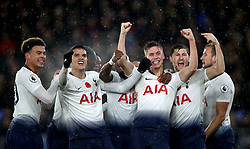 File photo dated 10-11-2018 of Tottenham Hotspur's Juan Foyth (centre) celebrates scoring his side's first goal of the game with team-mates during the Premier League match at Selhurst Park, London.