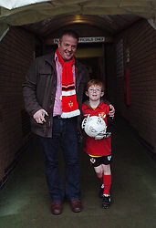 MASCOT WILLIAM AND DAD, WITH SIGNED BALL BEFORE KICK OFF, Kettering Town v Bath City, Blue Square Premier, Nene Park, Saturday 17th December 2011