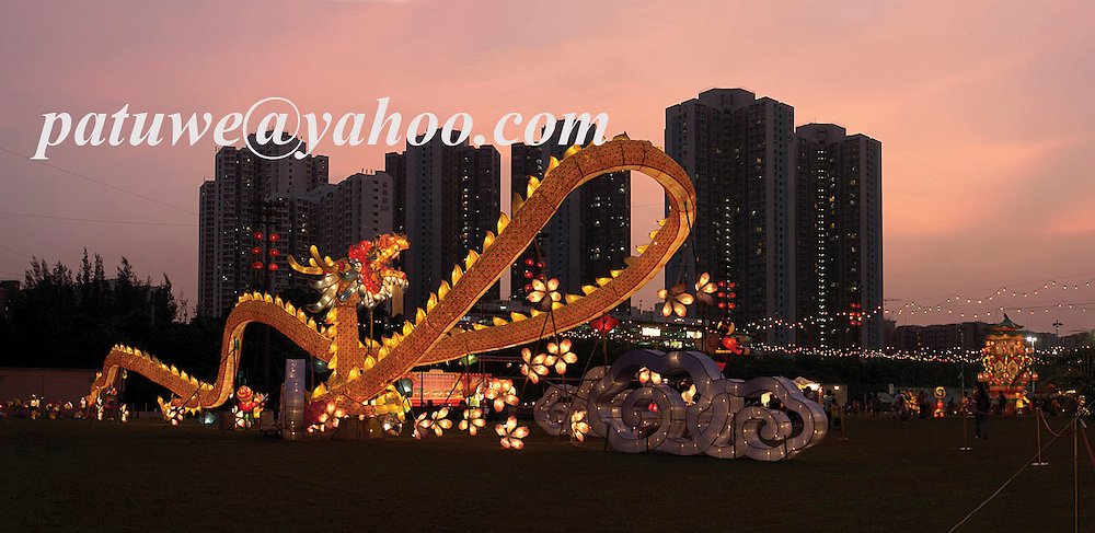Dragon lanterns decoration during Mid Autumn festival or Moon festival in Fanling, Hong Kong, China.