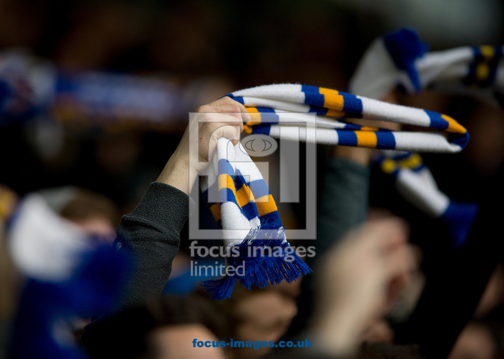 Leeds United fans twirl their scarves during the Sky Bet Championship match at Elland Road, Leeds<br /> Picture by Russell Hart/Focus Images Ltd 07791 688 420<br /> 20/11/2016