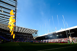 Players from Leinster Rugby and Saracens run out at St James' Park - Mandatory by-line: Robbie Stephenson/JMP - 11/05/2019 - RUGBY - St James' Park - Newcastle, England - Leinster Rugby v Saracens - Heineken Champions Cup Final