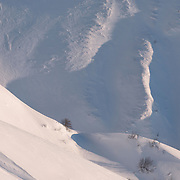 Mountain hill detail with snow
