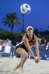 April 6, 2018 - Tucson, AZ, U.S. - TUCSON, AZ - APRIL 06: Arizona State Sun Devils Sydney Palmer (22) tries to hit the ball during a college beach volleyball match between the Arizona State Sun Devils and the Arizona Wildcats on April 06, 2018, at Bear Down Beach in Tucson, AZ. Arizona defeated Arizona State 4-1. (Photo by Jacob Snow/Icon Sportswire (Credit Image: © Jacob Snow/Icon SMI via ZUMA Press)