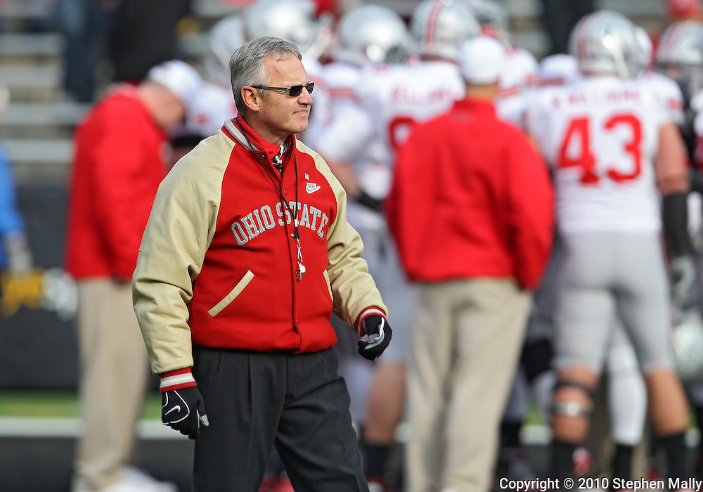 November 20 2010: Ohio State head coach Jim Tressel before the start of the NCAA football game between the Ohio State Buckeyes and the Iowa Hawkeyes at Kinnick Stadium in Iowa City, Iowa on Saturday November 20, 2010. Ohio State defeated Iowa 20-17.