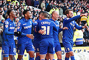 Birmingham celebrate Cotterill's second during the Sky Bet Championship match between Nottingham Forest and Birmingham City at the City Ground, Nottingham, England on 28 December 2014. Photo by Jodie Minter.