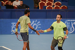 February 10, 2018 - Sofia, Bulgaria - Divij Sharan (India) and Scott Lipsky (USA) celebrate a winning point for them. Robin Haase and Matwe Middelkoop of Netherlands win their 1/ 2 final match over Divij Sharan(India) and Scott Lipsky(USA) 64 62, during DIEMAXTRA Sofia Open 2018 in Arena Armeec Hall in Sofia, Bulgaria on February 10, 2018  (Credit Image: © Hristo Rusev/NurPhoto via ZUMA Press)