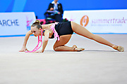 "Aesma Carmen during clubs routine at the International Tournament of rhythmic gymnastics ""Città di Pesaro"", 02 April,2016 . Carmen is a gymnast from Estonia. She is born at Tallin, 2002. <br />