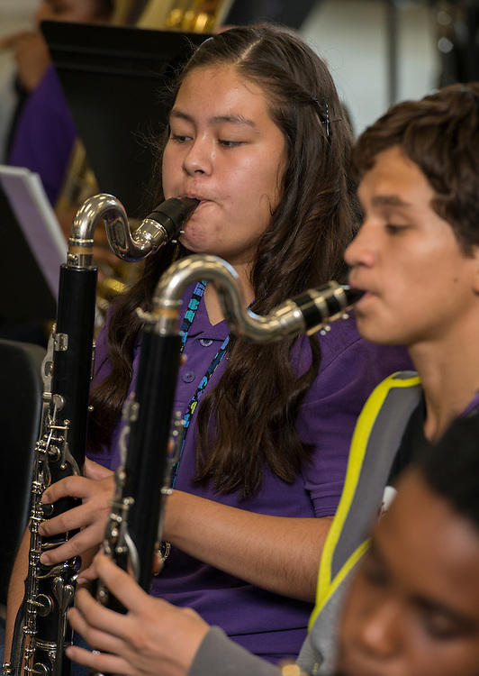 Band students practice at Johnston Middle School, October 1, 2014.