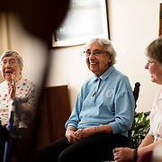 June 1, 2016 - New York, NY : The Missionary Sisters of the Immaculate Heart of Mary (I.C.M.)  are selling their 25-bedroom, two-story, combined two-townhome property located at 236 East 15th Street. Here, from left, sisters Rosemary Cicchitti and Rita Cavaretta, who used to reside in the house, and sister Katie Vercelline, who still does, are photographed while being interviewed by New York Times reporter Matt V. Chaban (not visible). CREDIT: Karsten Moran for The New York Times