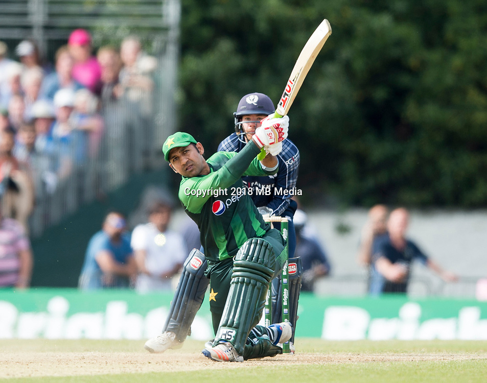 EDINBURGH, SCOTLAND - JUNE 12: Ahmed of Pakistan bats  during the International T20 Friendly match between Scotland and Pakistan at the Grange Cricket Club on June 12, 2018 in Edinburgh, Scotland. (Photo by MB Media/Getty Images)