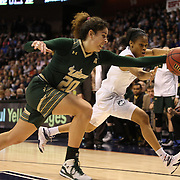 Laura Ferreiraa, (left), USF, and Moriah Jefferson, UConn, challenge for a loose ball during the UConn Huskies Vs USF Bulls Basketball Final game at the American Athletic Conference Women's College Basketball Championships 2015 at Mohegan Sun Arena, Uncasville, Connecticut, USA. 9th March 2015. Photo Tim Clayton