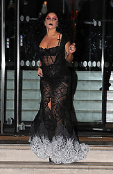 Singer Lady Gaga wearing a black lace dress leaving The Langham Hotel in London, UK. 22/10/2014<br /> BYLINE MUST READ : GOTCHAIMAGES.COM<br /> <br /> Copyright by © Gotcha Images Ltd. All rights reserved.<br /> Usage of this image is conditional upon the acceptance <br /> of Gotcha Images Ltd, terms and conditions available at<br /> www.gotchaimages.com