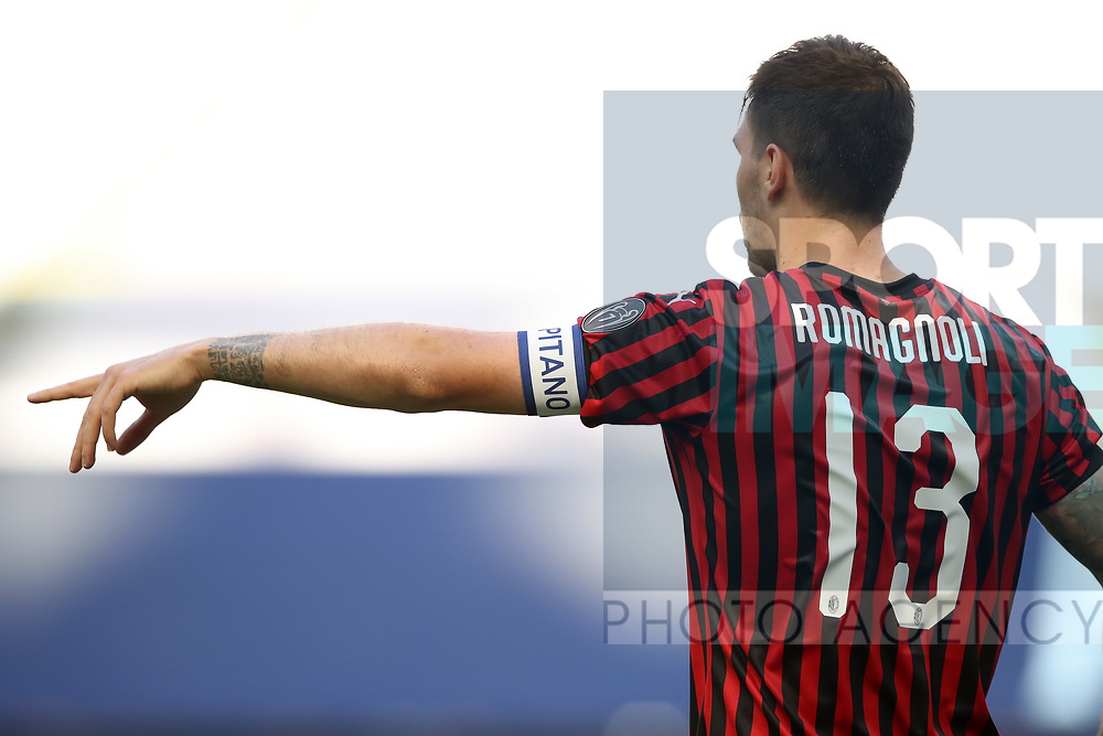 AC Milan's Italian defender Alessio Romagnoli indicates with his forefinger during the Serie A match at Giuseppe Meazza, Milan. Picture date: 28th June 2020. Picture credit should read: Jonathan Moscrop/Sportimage