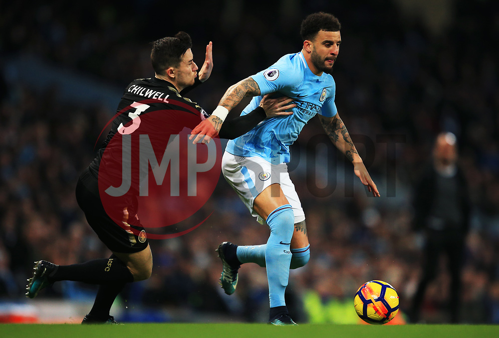 Kyle Walker of Manchester City takes on Ben Chilwell of Leicester City - Mandatory by-line: Matt McNulty/JMP - 10/02/2018 - FOOTBALL - Etihad Stadium - Manchester, England - Manchester City v Leicester City - Premier League