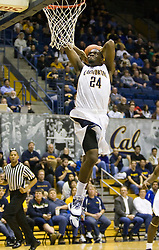 December 28, 2009; Berkeley, CA, USA;  California Golden Bears forward Theo Robertson (24) leaps for a dunk against the Utah Valley Wolverines during the second half at the Haas Pavilion.  California defeated Utah Valley 85-51.