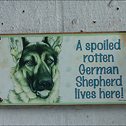 """Humorous Warning  Beware of Dog sign,,""""A spoiled rotten German Shepherd lives here!"""" on outside wall next to mailing boxes in run down area."""