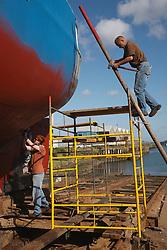 Fishing boat on slipway being repaired