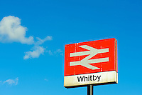 British rail signpost at Whitby railway station