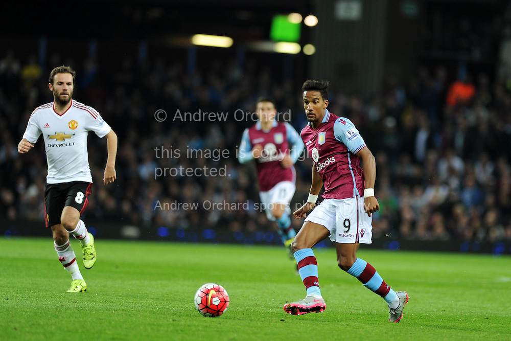 Scott Sinclair of Aston Villa in action. Barclays Premier League match, Aston Villa v Manchester Utd at Villa Park in Birmingham, Midlands on Friday 14th August  2015.<br /> pic by Andrew Orchard, Andrew Orchard sports photography.