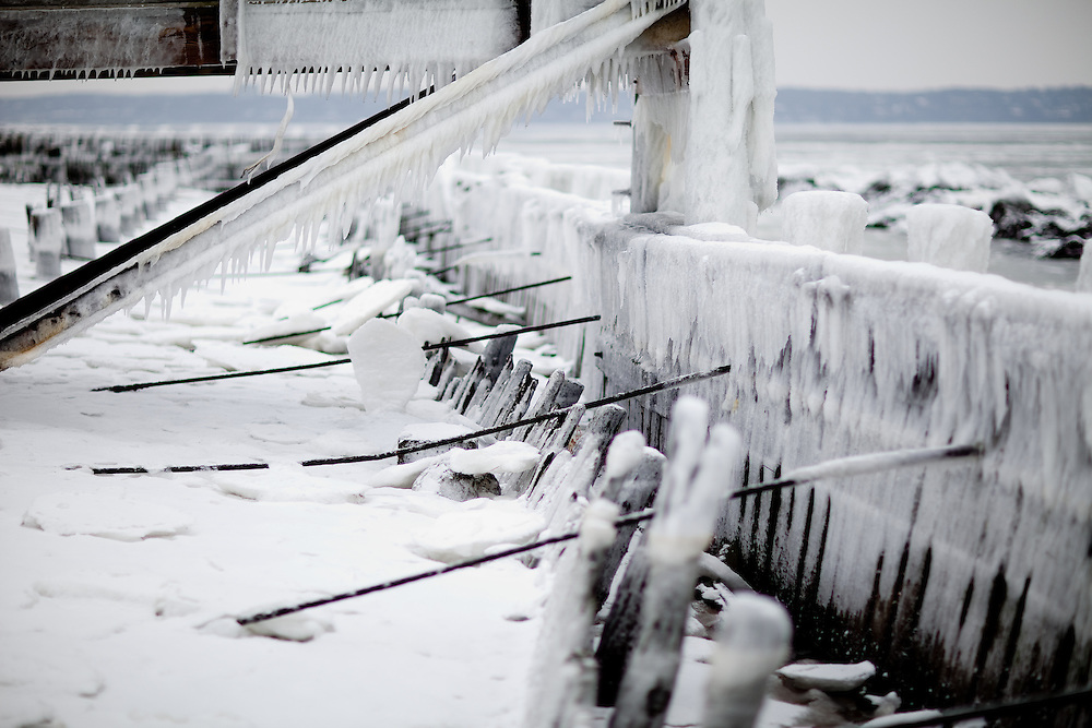 Iced over bulkhead that faces Sandy Hook Bay during the winter.  The ice was sea water that was crashing over the structure during a stiff wind.