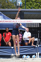 April 7, 2018 - Tucson, AZ, U.S. - TUCSON, AZ - APRIL 07: Arizona Wildcats blocker Kacey Nady (21) hits the ball during a college beach volleyball match between the California Golden Bears and the Arizona Wildcats on April 07, 2018, at Bear Down Beach in Tucson, AZ. Arizona defeated California 3-2. (Photo by Jacob Snow/Icon Sportswire (Credit Image: © Jacob Snow/Icon SMI via ZUMA Press)
