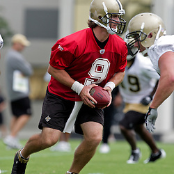 05 June 2009: Saints quarterback Drew Brees (9) participates in drills during the New Orleans Saints Minicamp held at the team's practice facility in Metairie, Louisiana.