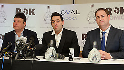 © Licensed to London News Pictures. 26/02/2013 London, UK. Reigning world snooker champion Ronnie O'Sullivan (centre) announces his return to snooker at The London Hilton Metropole Hotel. The 37 year old pulled out of the 2012-13 season due to 'personal reasons' after playing just one match. He plans to defend his title with his first match at The Crucible, Sheffield in April this year..Photo credit : Simon Jacobs/LNP