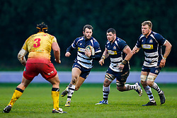 Bristol Rugby Full Back Luke Arscott is challenged by Scarlets XV Prop Will Taylor - Mandatory byline: Rogan Thomson/JMP - 17/01/2016 - RUGBY UNION - Clifton Rugby Club - Bristol, England - Scarlets Premiership Select XV v Bristol Rugby - B&I Cup.