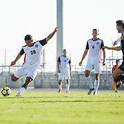 09 September 2018: San Diego State Aztecs forward Damian German (28) takes a shot on goal in the first half. The San Diego State men's soccer team beat UC Irvine in overtime 2-1 Sunday afternoon at the SDSU Sports Deck.