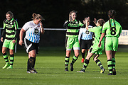 Forest Green Rovers Issy Newns(10) scores a goal 1-0 and celebrates during the South West Womens Premier League match between Forest Greeen Rovers Ladies and Marine Academy Plymouth LFC at Slimbridge FC, United Kingdom on 5 November 2017. Photo by Shane Healey.