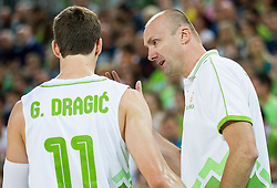Goran Dragic of Slovenia and Jure Zdovc, head coach of Slovenia during friendly basketball match between National Teams of Slovenia and Brasil at Day 2 of Telemach Tournament on August 22, 2014 in Arena Stozice, Ljubljana, Slovenia. Photo by Vid Ponikvar / Sportida