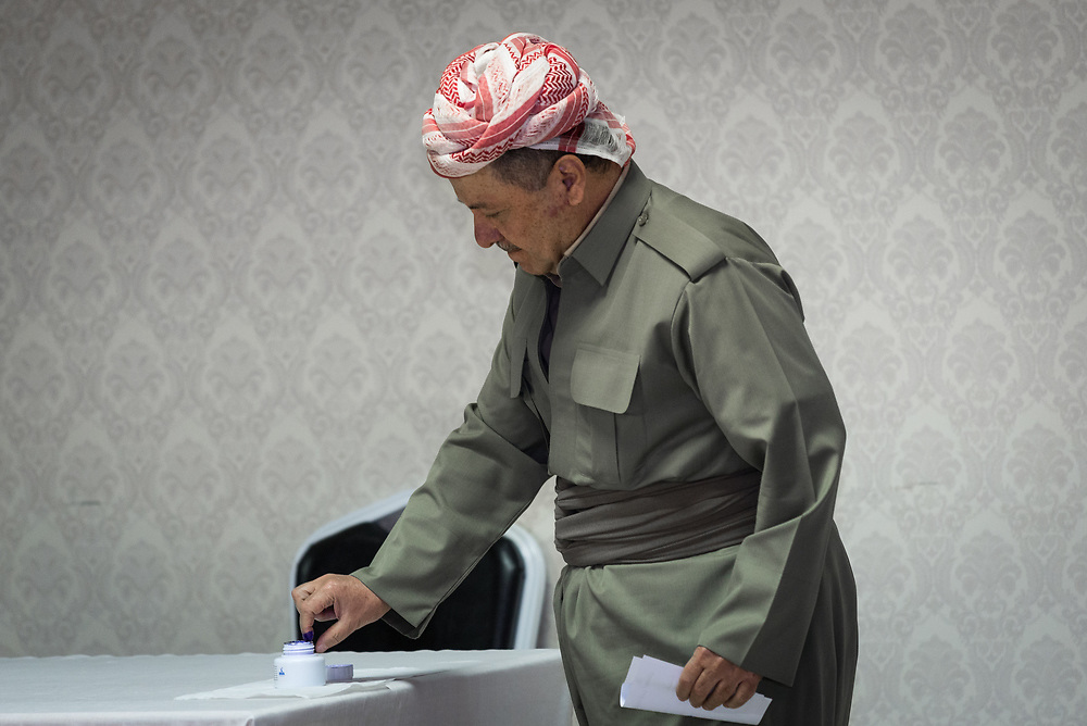 President of the Kurdistan Regional Government Masoud Barzani casts his vote at the Presidential Palace near Erbil, the capital of the Kurdistan region of Iraq, in the historic and controversial referendum on Kurdistan independence from Iraq, on September 25, 2017.<br />