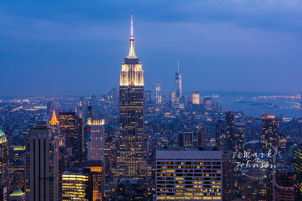 Manhattan at night, New York City, New York, USA