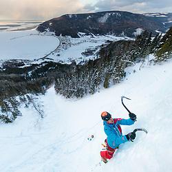 Etienne Rancourt ice climbing Une Fiere Chandelle in Gaspesie, Quebec