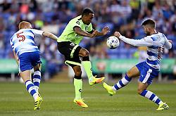 Callum Wilson of Bournemouth controls the ball under pressure from Paul McShane and Oliver Norwood of Reading - Mandatory by-line: Robbie Stephenson/JMP - 29/07/2016 - FOOTBALL - Madejski Stadium - Reading, England - Reading v AFC Bournemouth - Pre-season friendly