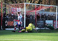 Football - 1919 / 2020  Dorking Wanderers v Fylde FA Trophy R3<br /> <br /> James Mcshane (11) scores his first half goal for Dorking past goalkeeper, Sam Hornby<br /> <br /> <br /> Credit : Colorsport / Andrew Cowie