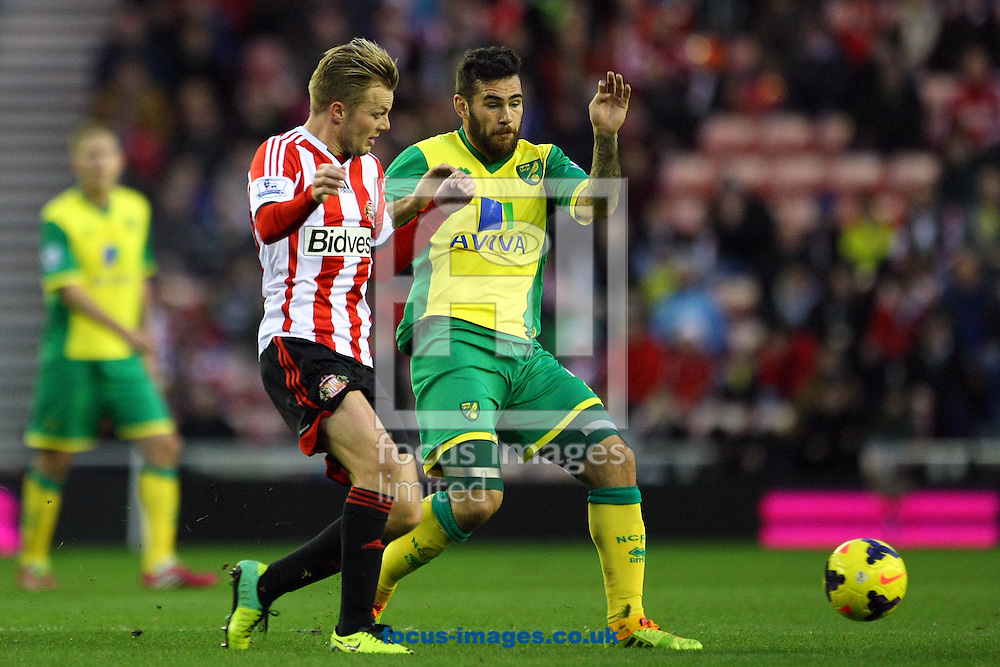 Picture by Paul Chesterton/Focus Images Ltd +44 7904 640267<br /> 21/12/2013<br /> Sunderland's Sebastian Larsson and Bradley Johnson of Norwich in action during the Barclays Premier League match at the Stadium Of Light, Sunderland.