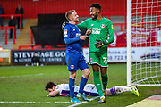Leyton Orient goalkeeper Lawrence Vigouroux (22) congratulates Leyton Orient midfielder James Brophy (16) on a clearance during the EFL Sky Bet League 2 match between Stevenage and Leyton Orient at the Lamex Stadium, Stevenage, England on 1 February 2020.