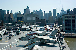 New York City, New York:  Intrepid aircraft carrier as air, sea, and space museum.  Aircraft on deck  .Photo #: ny307-15075  .Photo copyright Lee Foster, www.fostertravel.com, lee@fostertravel.com, 510-549-2202.