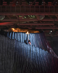 JAKARTA, Aug. 18, 2018  Torchbearer Susi Susanti of Indonesia is seen at the opening ceremony of the 18th Asian Games at Gelora Bung Karno (GBK) Main Stadium in Jakarta, Indonesia, Aug. 18, 2018. (Credit Image: © Li He/Xinhua via ZUMA Wire)