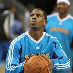 18 February 2009: New Orleans Hornets guard Chris Paul (3) during the shoot around prior to tip off of a NBA basketball game between the Orlando Magic and the New Orleans Hornets at the New Orleans Arena in New Orleans, Louisiana.