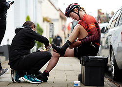 Hannah Barnes (GBR) prepares for Stage 1 of 2019 OVO Women's Tour, a 157.6 km road race from Beccles to Stowmarket, United Kingdom on June 10, 2019. Photo by Sean Robinson/velofocus.com