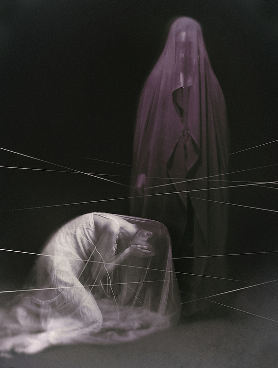A woman in a white veil, on her knees, in a gesture of grief, and a figure in a violet veil- standing and holding a white thread hanging above the white figure's head.