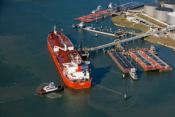 Aerial view of tankers and barges docked Port of Houston