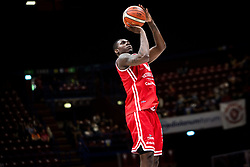 April 29, 2018 - Milan, Milan, Italy - Manuel Omogbo (#2 VL Pesaro) shoots a layup during a basketball game of Poste Mobile Lega Basket A between  EA7 Emporio Armani Milano vs VL Pesaro at Mediolanum Forum, in Milan, Italy, on April 29, 2018. (Credit Image: © Roberto Finizio/NurPhoto via ZUMA Press)