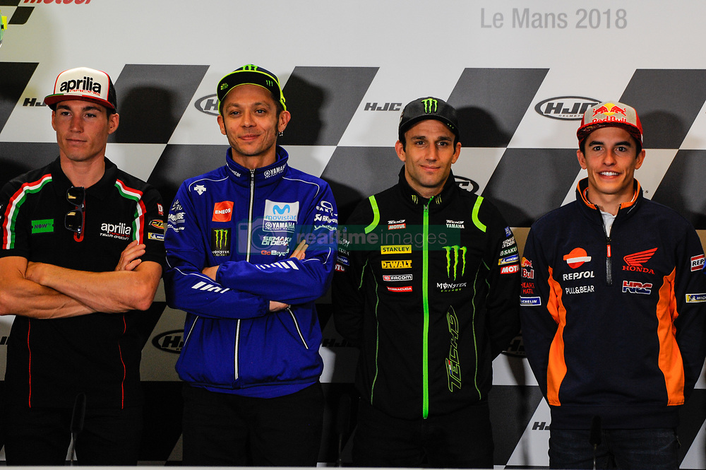 May 17, 2018 - Le Mans, France, France - Pol Espargarò, Valentino Rossi, Johann Zarco and Marc Marquez attends a press conference of France MotoGP at Circuit Bugatti Le Mans. (Credit Image: © Gaetano Piazzolla/Pacific Press via ZUMA Wire)