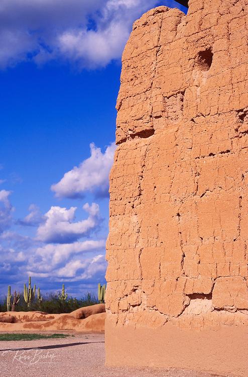 Afternoon light on the northwest corner of Casa Grande Ruins, Casa Grande Ruins National Monument